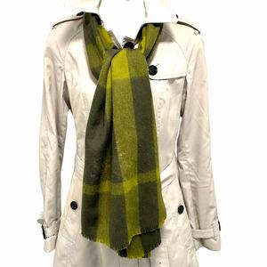 Burberry Green Black 100% Wool Raw Edge Scarf